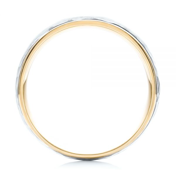 18k Yellow Gold And 14K Gold 18k Yellow Gold And 14K Gold Two-tone Hammered Men's Wedding Band - Front View -  103024