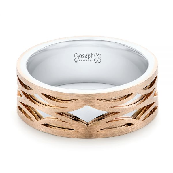 14K Gold And 18k Rose Gold 14K Gold And 18k Rose Gold Two-tone Filigree Men's Band - Flat View -  103127