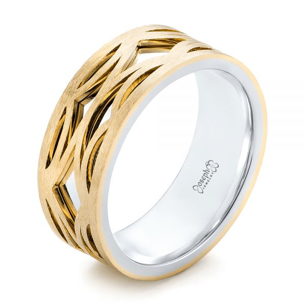 14K Gold And 14k Yellow Gold 14K Gold And 14k Yellow Gold Two-tone Filigree Men's Band - Three-Quarter View -  103127