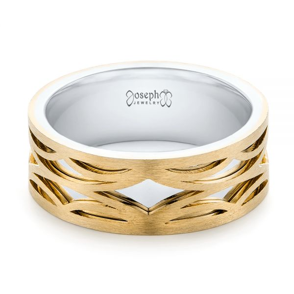 14K Gold And 14k Yellow Gold 14K Gold And 14k Yellow Gold Two-tone Filigree Men's Band - Flat View -  103127