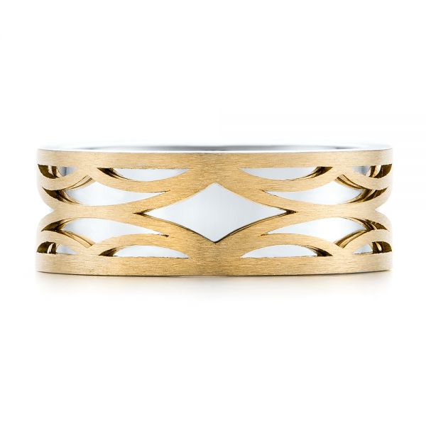 14K Gold And 14k Yellow Gold 14K Gold And 14k Yellow Gold Two-tone Filigree Men's Band - Top View -  103127