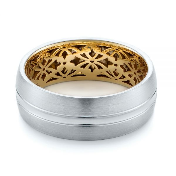 14K Gold And 14k Yellow Gold Two-tone Men's Wedding Band - Flat View -