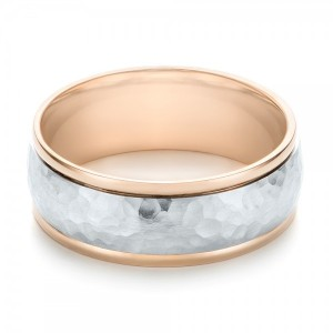 Two-Tone Hammered Men's Wedding Band
