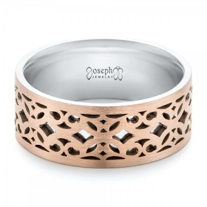 Two-Tone Filigree Men's Wedding Band