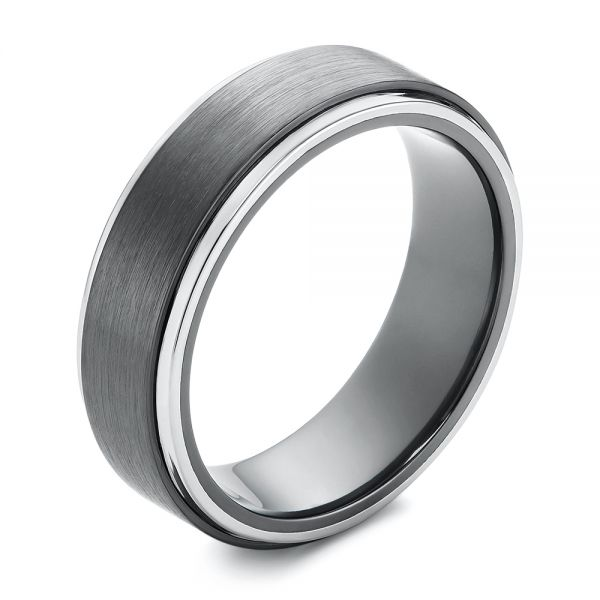 Two-tone Zirconium Men's Wedding Ring - Image