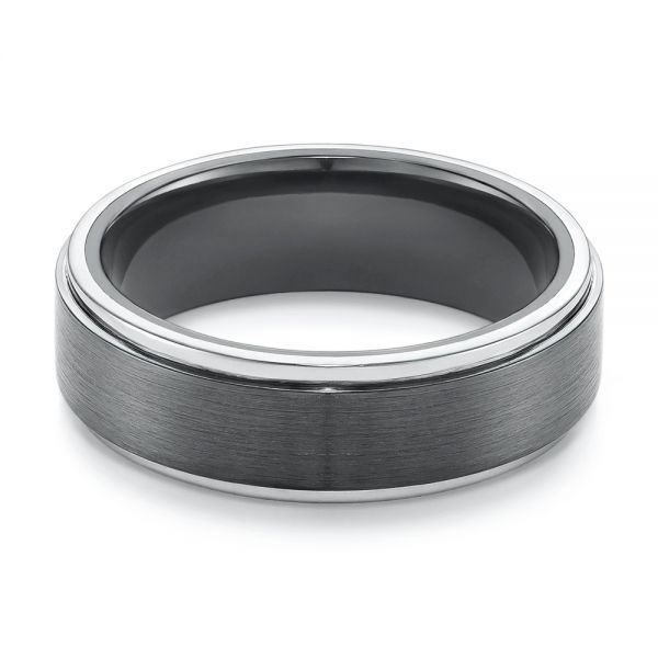 Two-tone Zirconium Men's Wedding Ring - Flat View -  105893 - Thumbnail