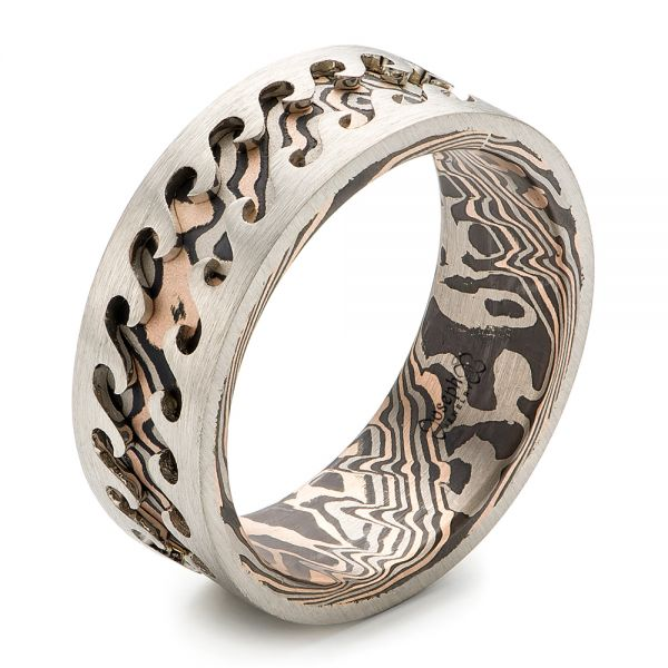 Wave Mokume Men's Wedding Band - Image