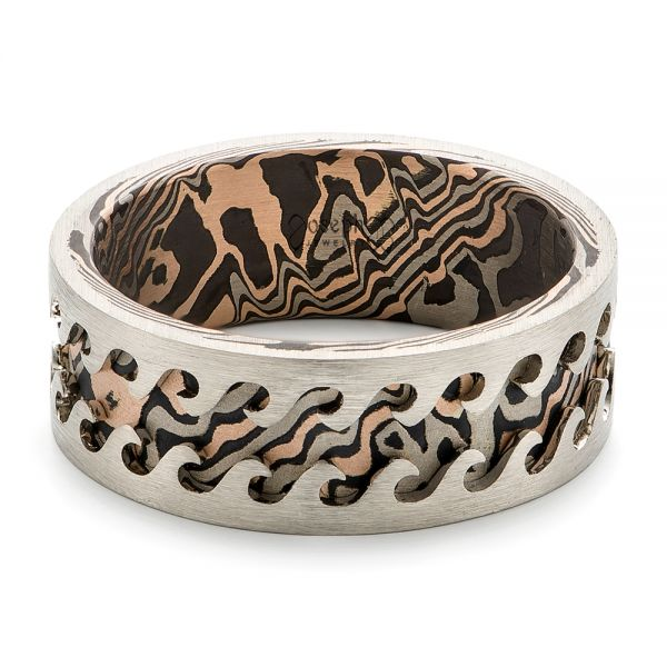 Wave Mokume Men's Wedding Band - Flat View -  102562