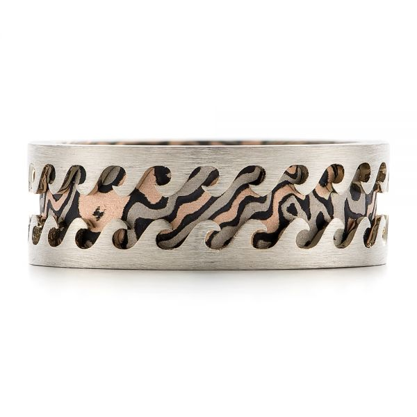 Wave Mokume Men's Wedding Band - Top View -  102562