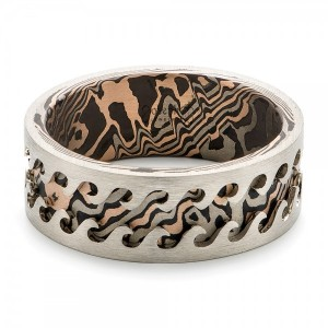 Wave Mokume Men's Wedding Band