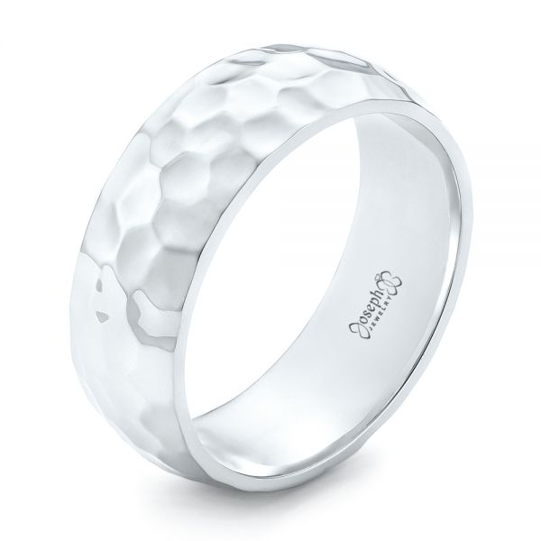 White Gold Hammered Men's Wedding Band - Image