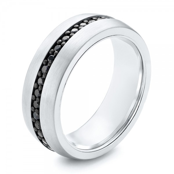 White Tungsten Black Sapphire Men's Band