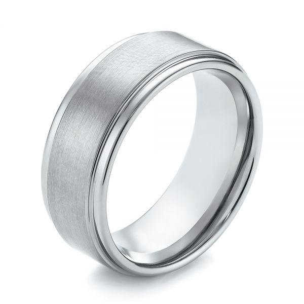White Tungsten Men's Wedding Ring - Three-Quarter View -  103877 - Thumbnail
