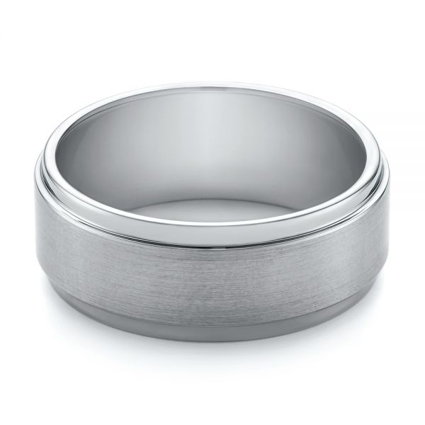 White Tungsten Men's Wedding Ring - Flat View -  103877 - Thumbnail