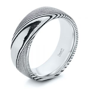 White Tungsten and Damascus Men's Wedding Band - Image