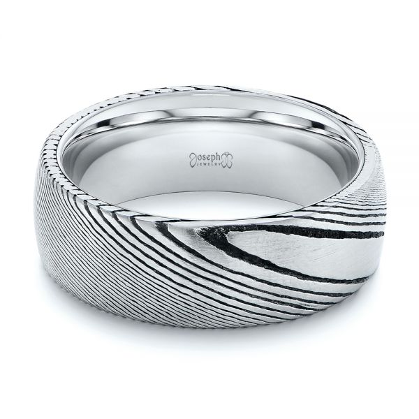 White Tungsten And Damascus Men's Wedding Band - Flat View -  105308
