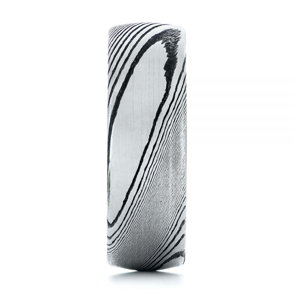 White Tungsten And Damascus Men's Wedding Band - Side View -  105308