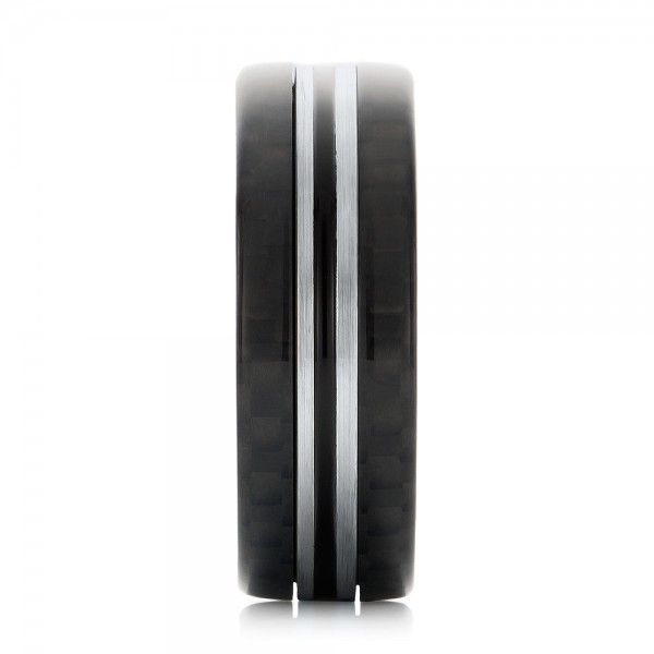 Tungsten and Black Carbon Fiber Men's Band - Side View -  102680 - Thumbnail