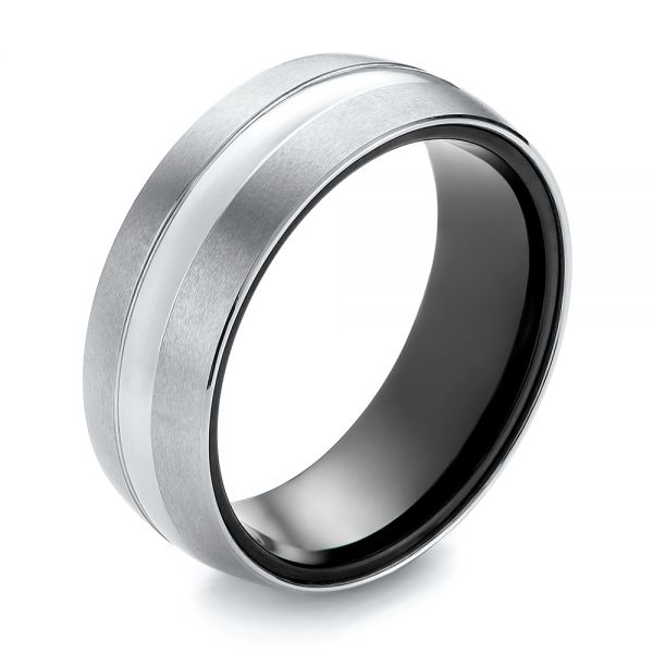 White and Black Tungsten Men's Wedding Band