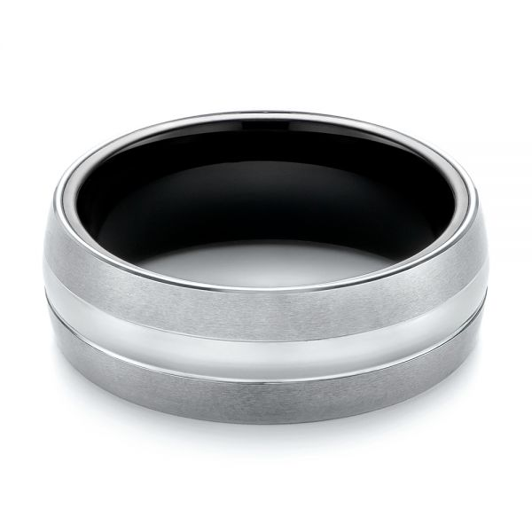 White And Black Tungsten Men's Wedding Band - Flat View -