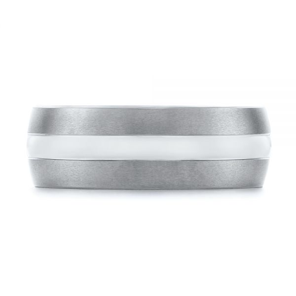 White And Black Tungsten Men's Wedding Band - Top View -