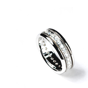 Women's White Gold and Diamond Band - Samuel Jewels