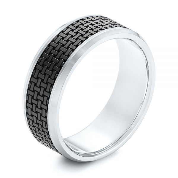 Woven Carbon Fiber Inlay and Gold Wedding Band - Image