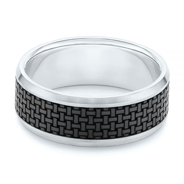 Woven Carbon Fiber Inlay Wedding Band - Flat View -
