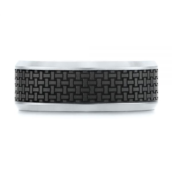 Woven Carbon Fiber Inlay Wedding Band - Top View -