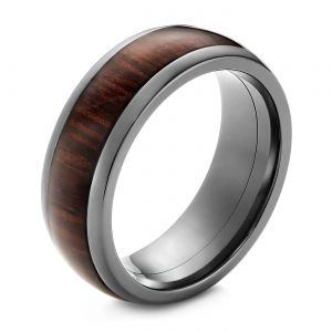 Zirconium Men's Wedding Ring with Hardwood Inlay - Image
