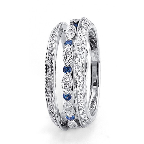 Sapphire and Diamond Women's Wedding Bands - Parade
