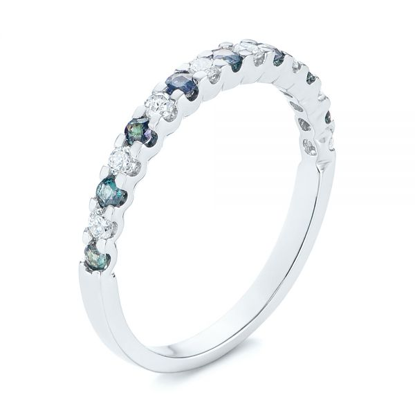 Alexandrite and Diamond Wedding Band - Image