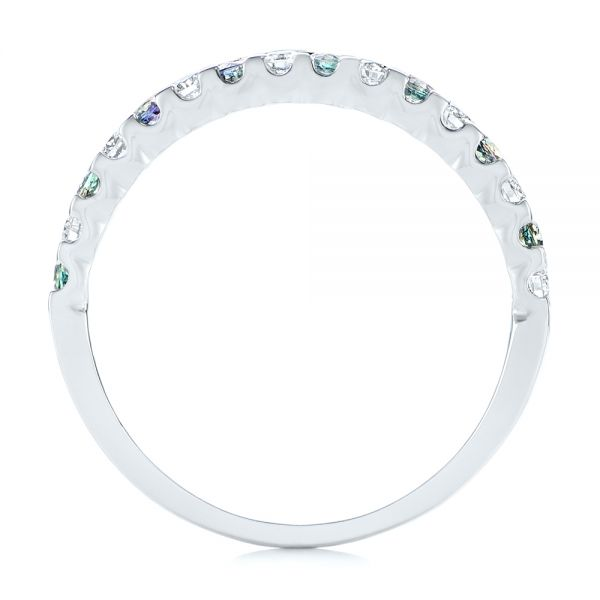 Alexandrite and Diamond Wedding Band - Front View -  104592 - Thumbnail