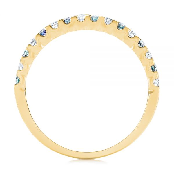 18k Yellow Gold 18k Yellow Gold Alexandrite And Diamond Wedding Band - Front View -