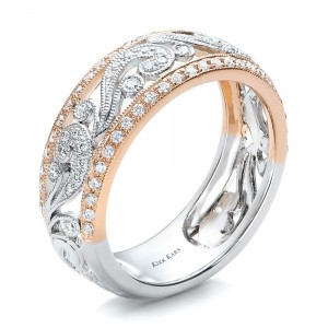 Two-Tone Gold, Filigree and Diamond Women's Band - Kirk Kara