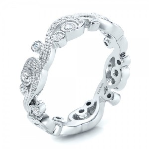 Filigree and Diamond Eternity Wedding Band - Kirk Kara