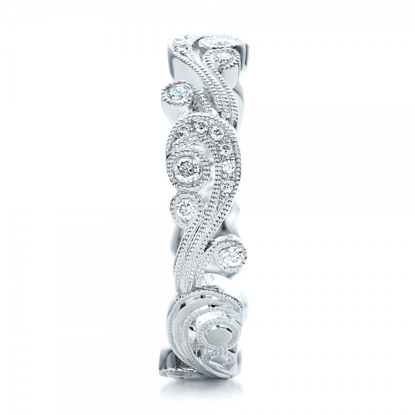 Filigree and Diamond Eternity Wedding Band - Kirk Kara - Side View -  100891 - Thumbnail