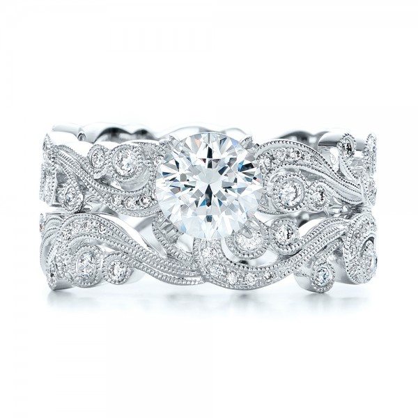 Filigree and Diamond Eternity Wedding Band - Kirk Kara - Top View -  100891 - Thumbnail
