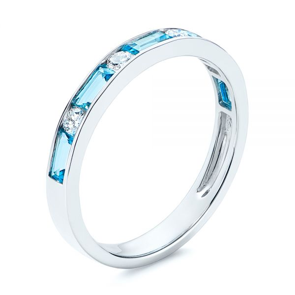 14k White Gold Baguette Blue Topaz And Diamond Wedding Band - Three-Quarter View -  105423