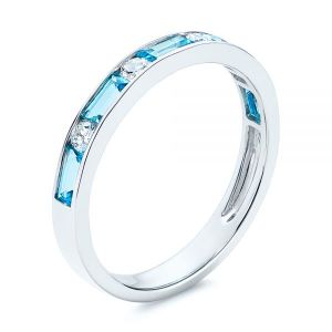 Baguette Blue Topaz and Diamond Wedding Band - Image