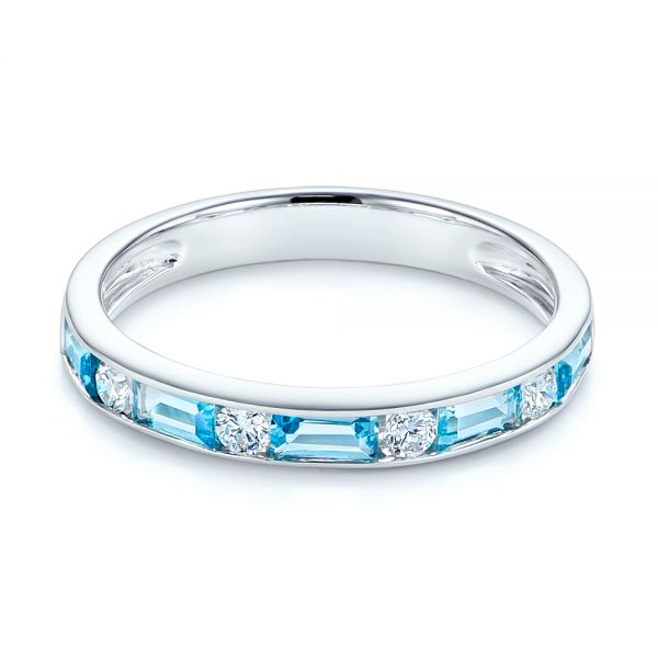 14k White Gold Baguette Blue Topaz And Diamond Wedding Band - Flat View -  105423 - Thumbnail