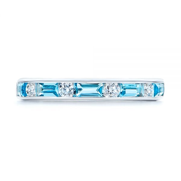 14k White Gold Baguette Blue Topaz And Diamond Wedding Band - Top View -  105423 - Thumbnail