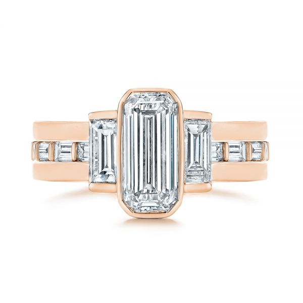 14k Rose Gold 14k Rose Gold Baguette Diamond Eternity Wedding Band - Top View -  105865 - Thumbnail