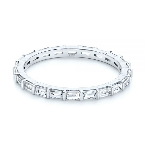 14k White Gold Baguette Diamond Eternity Wedding Band - Flat View -  105865