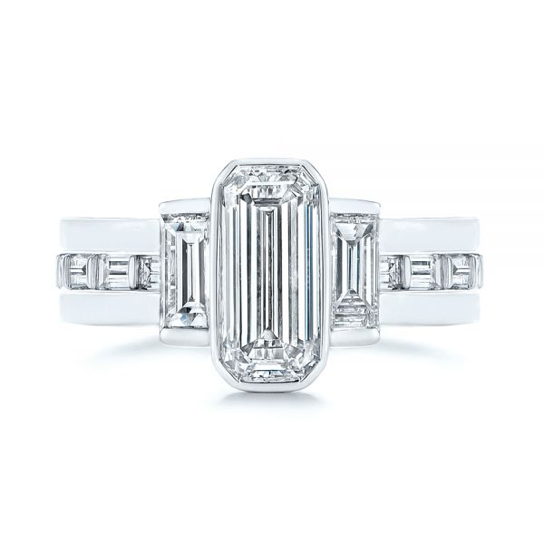 14k White Gold Baguette Diamond Eternity Wedding Band - Top View -  105865