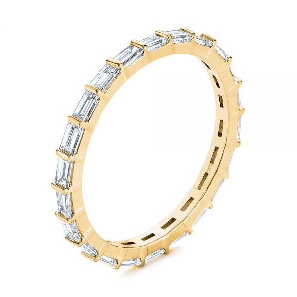 18k Yellow Gold 18k Yellow Gold Baguette Diamond Eternity Wedding Band - Three-Quarter View -  105865