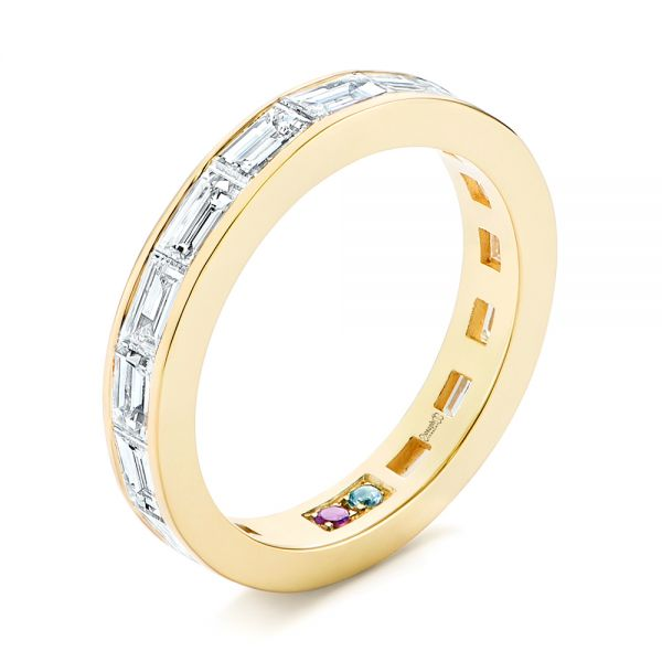 18k Yellow Gold Baguette Diamond Wedding Band - Three-Quarter View -  105294