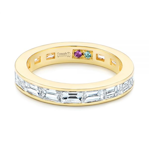 18k Yellow Gold Baguette Diamond Wedding Band - Flat View -  105294