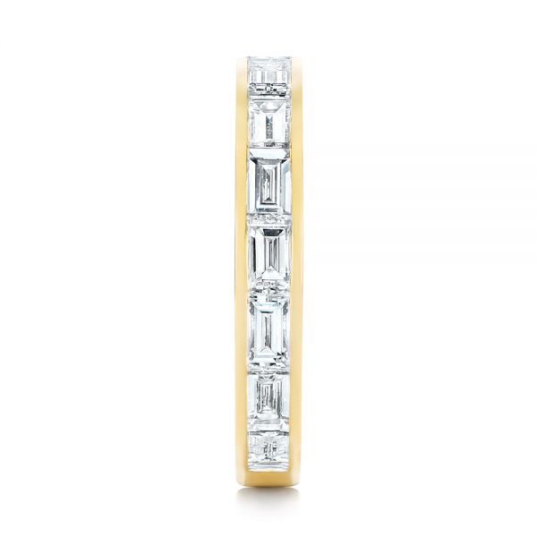 18k Yellow Gold Baguette Diamond Wedding Band - Side View -  105294
