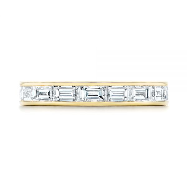 18k Yellow Gold Baguette Diamond Wedding Band - Top View -  105294